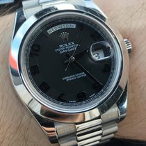 Rolex Day-Date II Platinum 41mm President Black Dial 218206