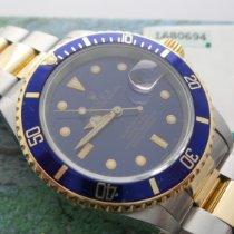 Rolex Submariner Date Gold/Stahl 40mm Blau Keine Ziffern