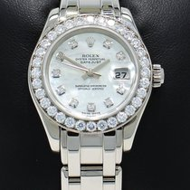 Rolex Masterpiece Pearlmaster 80299 18k W Gold Fact Diamond...