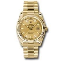 Rolex Day-Date President Yellow Gold Fluted Bezel