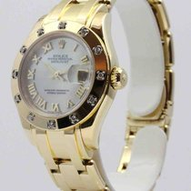 Rolex Lady-Datejust Pearlmaster tweedehands 29mm Wit Datum Geelgoud