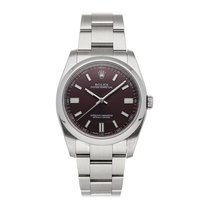 Rolex Oyster Perpetual 36 Stahl 36mm Rot Keine Ziffern
