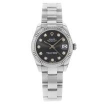 Rolex Datejust 178274 Diamond Dial 18K White Gold Steel Watch