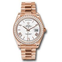 Rolex Day-Date 40 Or rose 40mm Blanc Romain