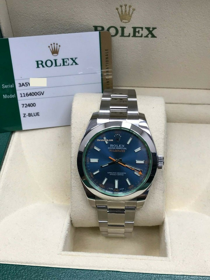 Rolex Milgauss 116400 Blue Green Crystal Stainless Steel Box \u0026 Paper