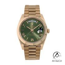 Rolex Day-Date 40 Růžové zlato 40mm Zelená Římské
