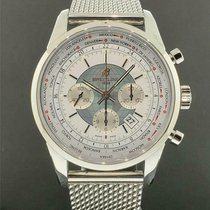 Breitling Transocean Chronograph Unitime pre-owned 46mm White Steel