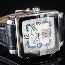 Ulysse Nardin Quadrato Dual Time pre-owned 41mm Silver Date GMT Crocodile skin