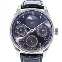 IWC Portuguese Perpetual Calendar pre-owned 44mm Grey Moon phase Perpetual calendar Leather