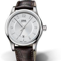 Oris CULTURA CLASSIC DATE Steel-Silver-Brown Strap Arabic Numeral