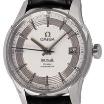 Omega De Ville Hour Vision pre-owned 41mm Silver Date Crocodile skin