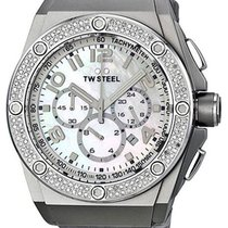 TW Steel CEO Chronograph Date Diamonds Grey Leather Quartz...