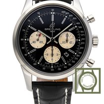 Breitling Transocean Chronograph Automatic Steel Case Black...