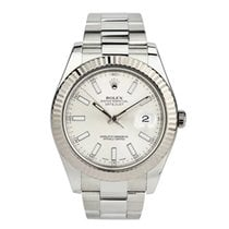 Rolex White gold Automatic White No numerals 41mm pre-owned Datejust II