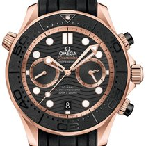 Omega Rose gold Automatic Black 44mm new Seamaster Diver 300 M