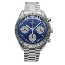 Omega Speedmaster Reduced pre-owned Blue Chronograph Steel