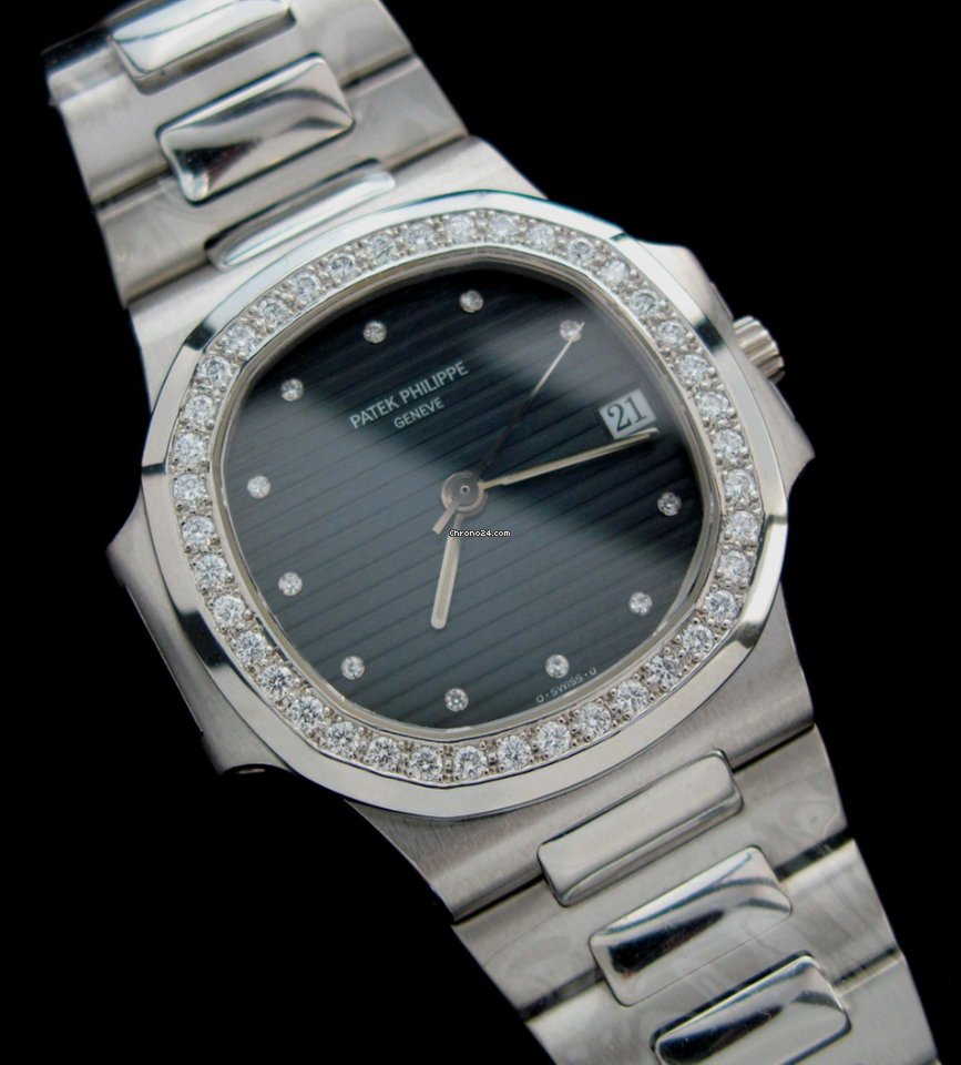 Patek Philippe Platinum Nautilus Factory Diamonds Rare for $88,889 for sale  from a Trusted Seller on Chrono24