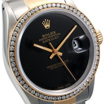 Rolex 36mm 18K/SS  Datejust Custom Black Dial Diam Bezel Quickset