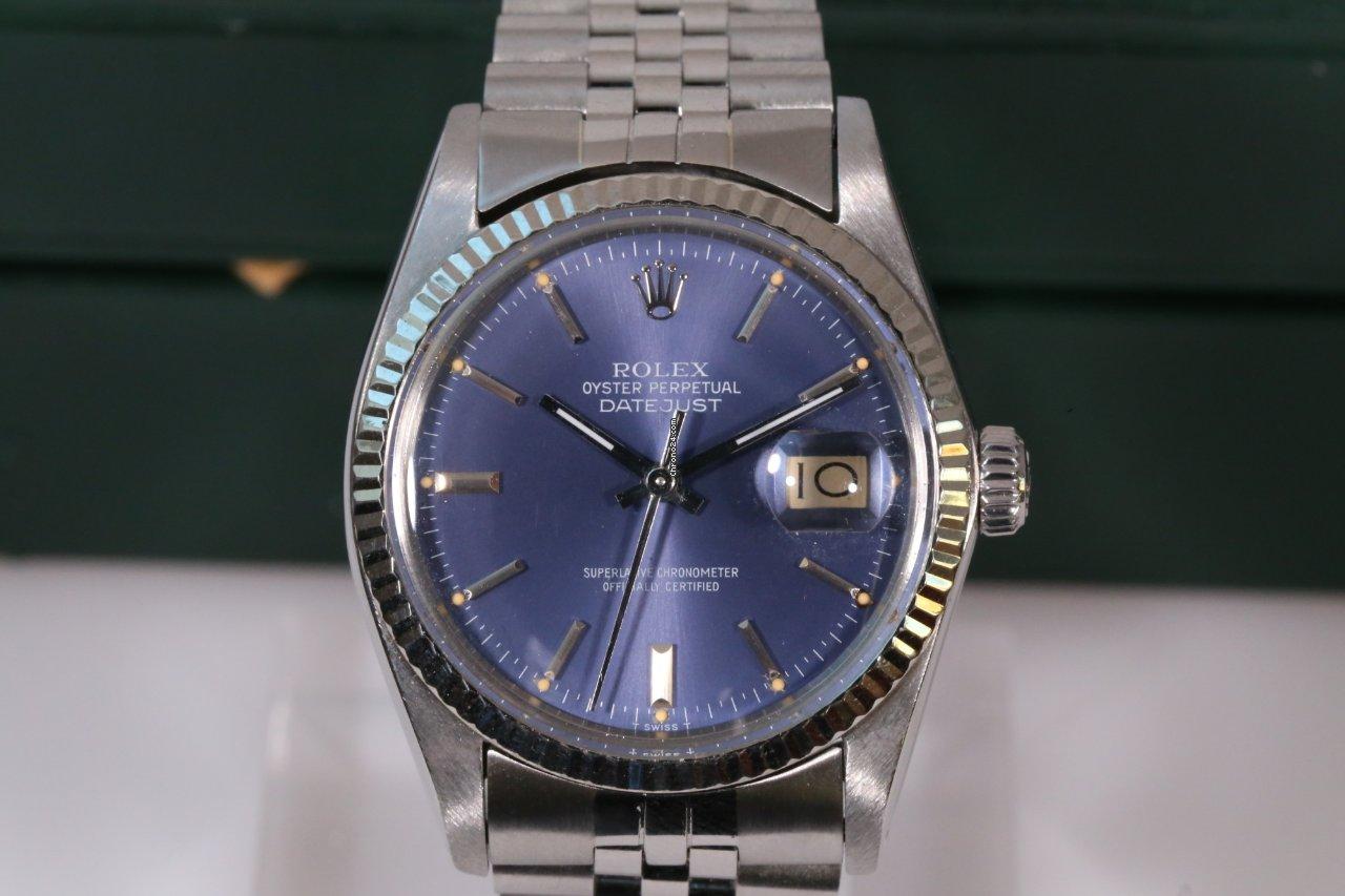 rolex datejust no stretch perfect condition rare blue dial verkauft auf chrono24. Black Bedroom Furniture Sets. Home Design Ideas