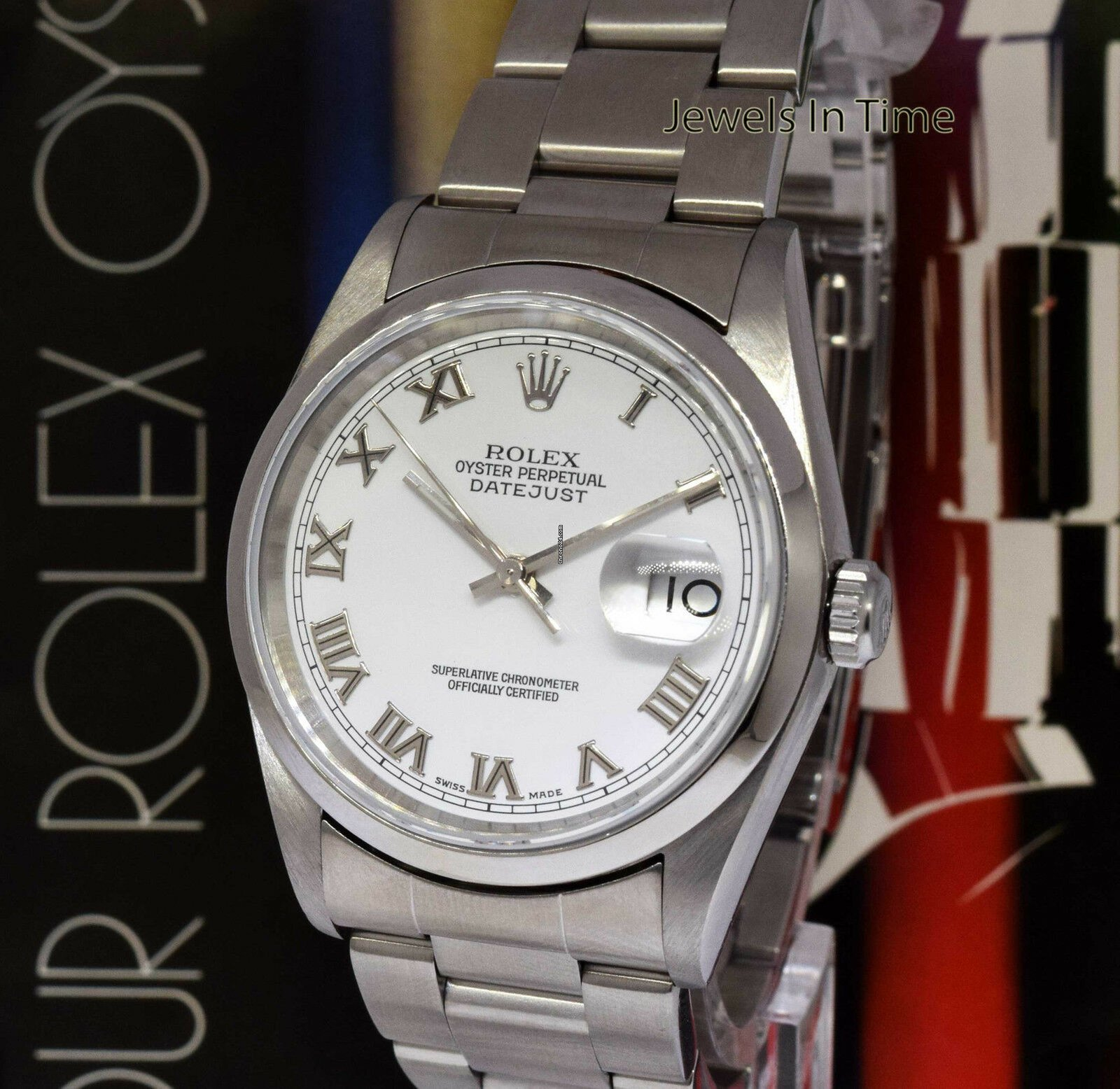 ba09d5f6c66 Rolex Datejust 36 Stainless Steel White Roman Dial Automatic Mens Watch K  16200