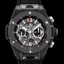 "Hublot Big Bang ""Unico Black Magic"" Black Ceramic/Rubber 45mm..."
