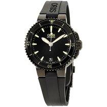 Oris Aquis Date Black Dial Silicone Strap Unisex Watch...