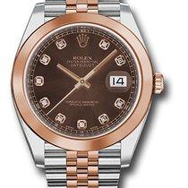 Rolex dayjust 41mm diamond dial 18k pink/steel
