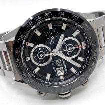 TAG Heuer Steel Automatic Black 43mm pre-owned Carrera Calibre HEUER 01
