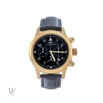 IWC Yellow gold Quartz Black Arabic numerals 36mm pre-owned Pilot Chronograph