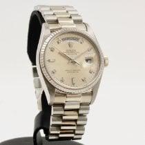Rolex Day-Date 36 Λευκόχρυσος 36mm Ασημί Xωρίς ψηφία