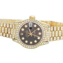 Rolex 18K Yellow Gold 26MM Datejust Black Presidential 69178...