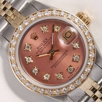 Rolex Ladies Datejust 2 Tone 18k Gold-Salmon Diamond Dial-Diam...