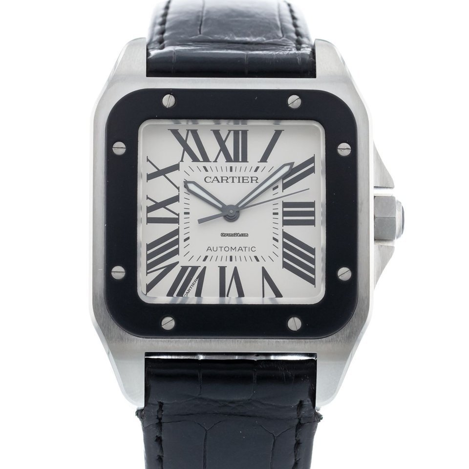 999aff363a7 Cartier Santos 100 W20121U2 Watch with Leather Bracelet and... for ...