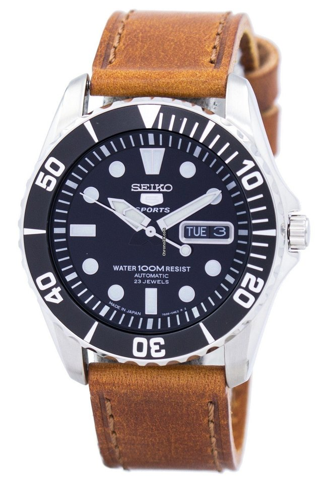 Seiko 5 Sports Automatic 23 Jewels Ratio Brown Leather SNZF17J1 LS9 Men's Watch