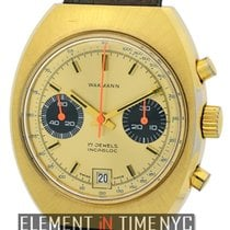 Wakmann Incabloc Vintage 3 Register Chrono Gold Plated
