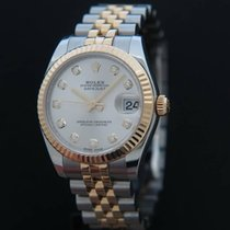 Rolex Datejust Gold/Steel Silver Diamond dial 178273