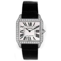 Cartier White gold Quartz Silver Roman numerals 38.5mm new Santos Dumont