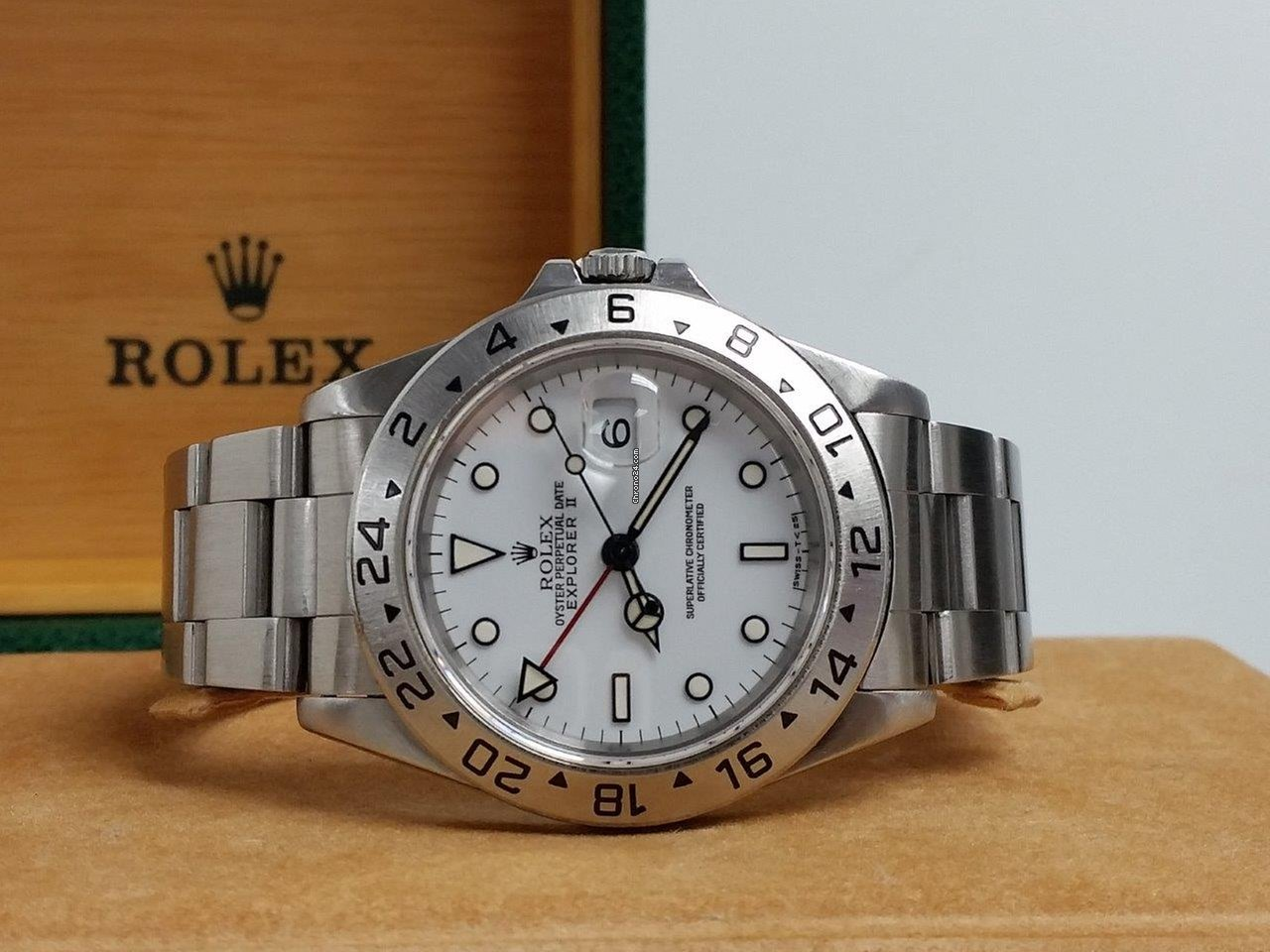 Rolex Explorer II POLAR WHITE Red GMT Tritium Dial Cream Patina