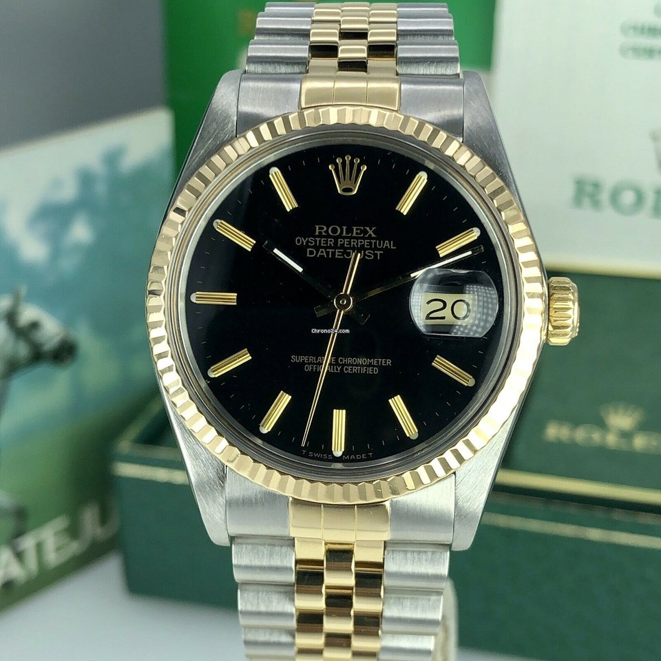 Rolex Datejust Gold & Steel Black Dial w B&P Collector Set