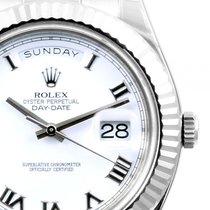 "Rolex 18k WG ""Day Date ll"" White Roman - 218239 Unworn"