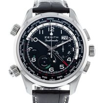 Zenith Steel Automatic Black 45mm pre-owned El Primero Doublematic