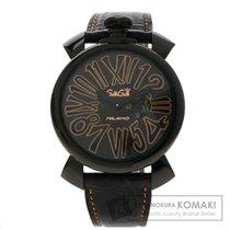 Gaga Milano ガガ・ミラノ 5086.1 マヌアーレ 46MM スリム 腕時計 ステンレススチール/革 メンズ