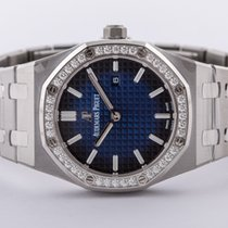 Audemars Piguet Titanium Quartz Blauw Geen cijfers 33mm nieuw Royal Oak Lady