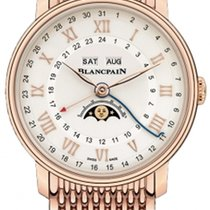 Blancpain Rose gold Automatic Silver Roman numerals 40mm new Villeret Moonphase