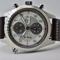 IWC Pilot Double Chronograph pre-owned 43mm Silver Double chronograph Date Leather