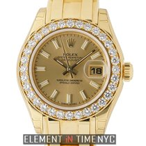 Rolex Yellow gold Automatic Champagne 29mm new Lady-Datejust Pearlmaster