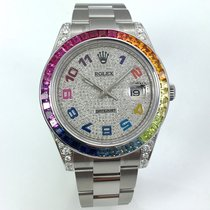 Rolex DATEJUST II Special Edition Rainbow Baguette + Diamonds