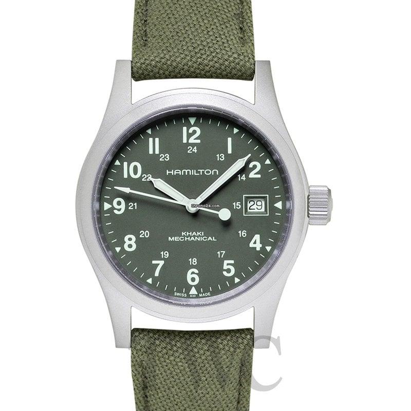 Khaki Winding Stainless Green Hamilton Field Manual Dial Steel Men's hQtsrdC