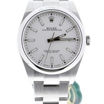 Rolex Oyster Perpetual 39 Staal 39mm Wit Geen cijfers