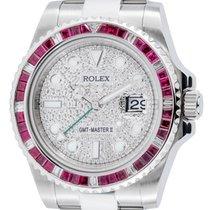 Rolex GMT-Master II Stainless Steel Red Ruby Bezel Diamond...